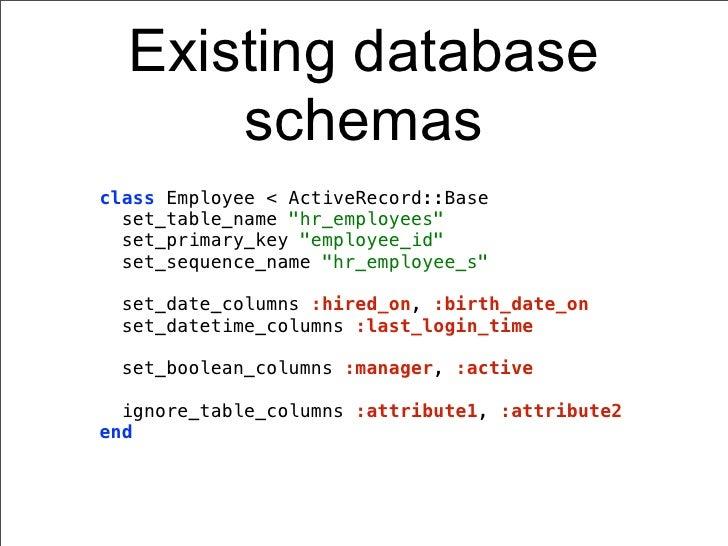 "Existing database      schemasclass Employee < ActiveRecord::Base  set_table_name ""hr_employees""  set_primary_key ""employe..."