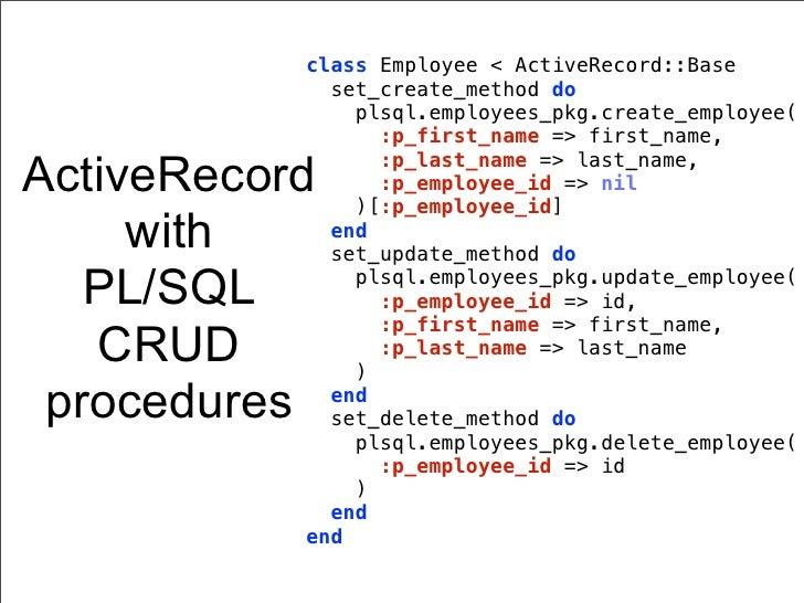 class Employee < ActiveRecord::Base             set_create_method do               plsql.employees_pkg.create_employee(   ...