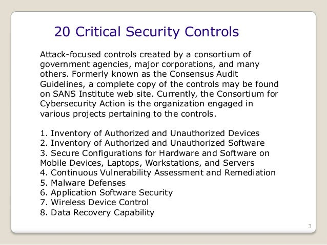 Extending the 20 critical security controls to gap assessments and se…