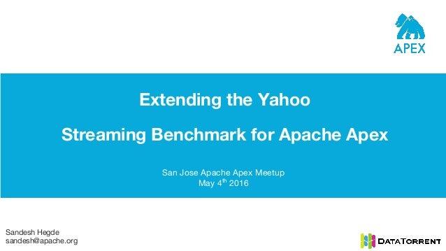 Extending the Yahoo Streaming Benchmark for Apache Apex San Jose Apache Apex Meetup May 4th 2016 Sandesh Hegde sandesh@apa...
