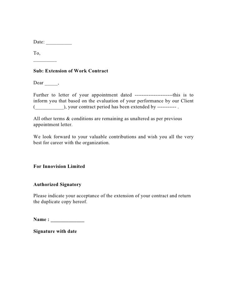 Extend letter draft copy date tosub extension of work contractdear further to letter of altavistaventures Images