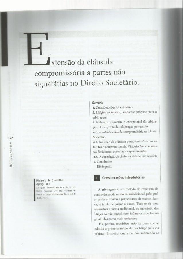 Extensão da cláusula compromissória a partes não signatárias no direito societário