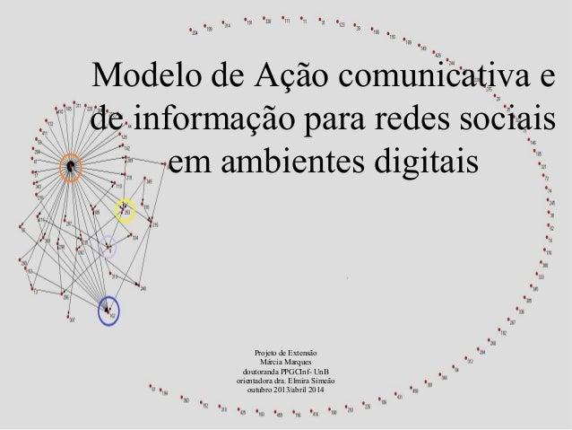 Modelo de Ação comunicativa e  de informação para redes sociais  em ambientes digitais  Projeto de Extensão  Márcia Marque...