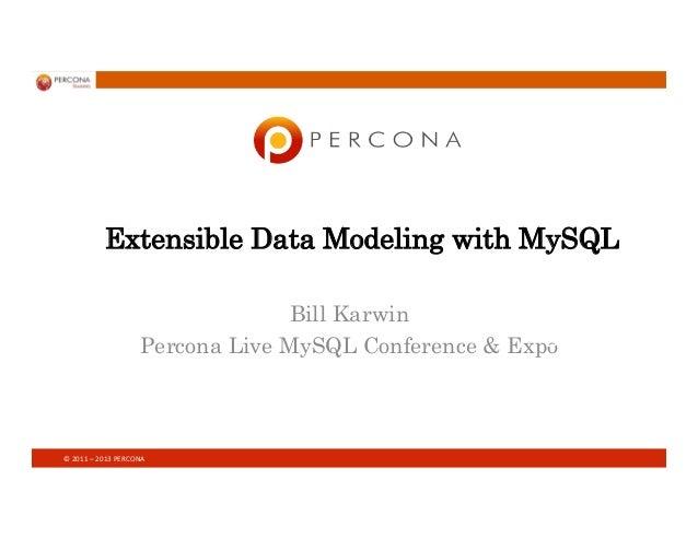 ©  2011  –  2013  PERCONA   Extensible Data Modeling with MySQL Bill Karwin Percona Live MySQL Conference & Expo...