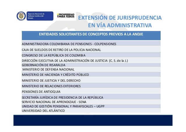EXTENSIÓN DE JURISPRUDENCIA EN VÍA ADMINISTRATIVA ENTIDADES SOLICITANTES DE CONCEPTOS PREVIOS A LA ANDJE ADMINISTRADORA CO...