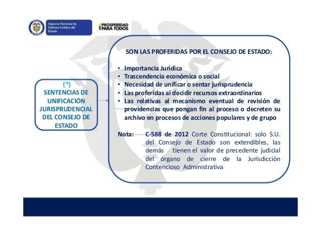 (*) SENTENCIAS DE UNIFICACIÓN JURISPRUDENCIAL DEL CONSEJO DE ESTADO SON LAS PROFERIDAS POR EL CONSEJO DE ESTADO: • Importa...