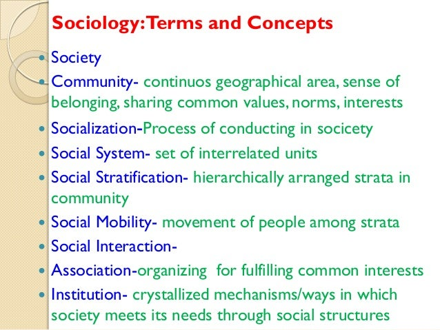 Sociology:Terms and Concepts           Society Community- continuos geographical area, sense of belonging, sharin...