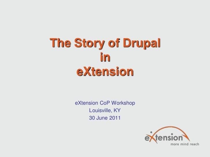 The Story of DrupalineXtension<br />eXtension CoP Workshop<br />Louisville, KY<br />30 June 2011<br />
