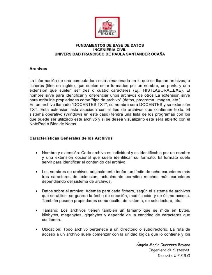 FUNDAMENTOS DE BASE DE DATOS                             INGENIERIA CIVIL             UNIVERSIDAD FRANCISCO DE PAULA SANTA...