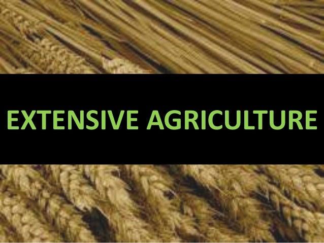 Agriculture--Extensive farming