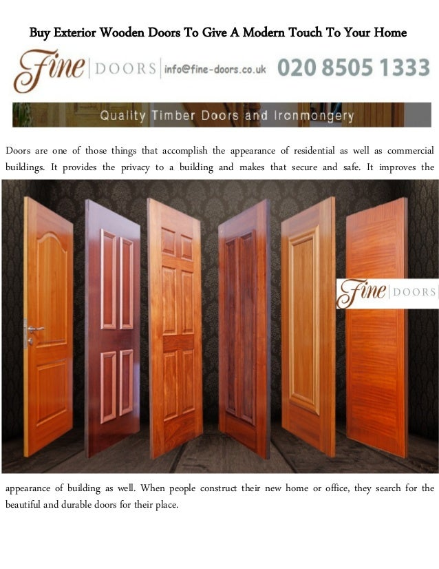 Buy Exterior Wooden Doors To Give A Modern Touch To Your Home Doors Are One  Of ...