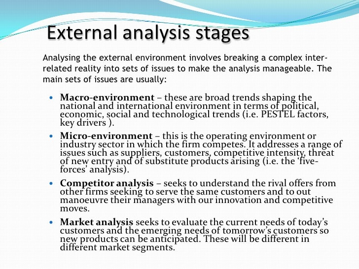 external and internal environmental analysis 2 essay 34 internal analysis 341 company culture and image 342 human and technological resources strategic planning » 32 external analysis the external environment has two aspects.