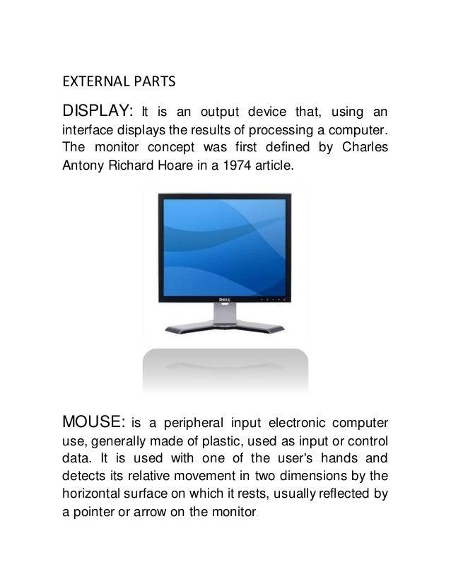 External and internal computer parts