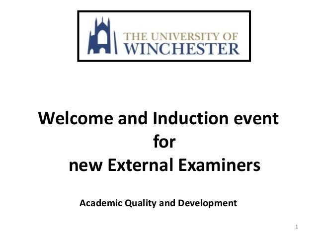 Exceptional Welcome And Induction Event For New External Examiners Academic Quality And  Development 1 ...