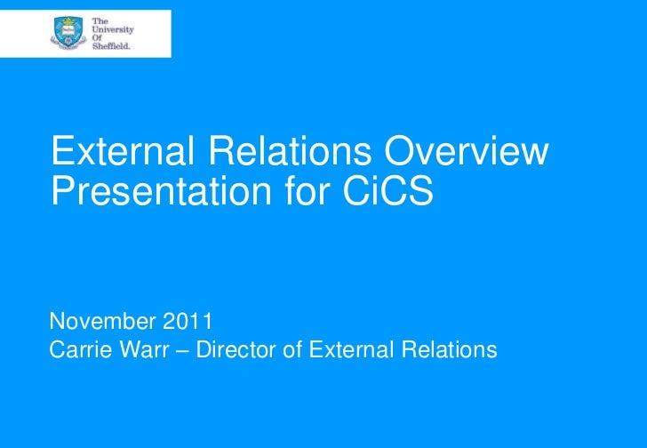 External Relations OverviewPresentation for CiCSNovember 2011Carrie Warr – Director of External Relations