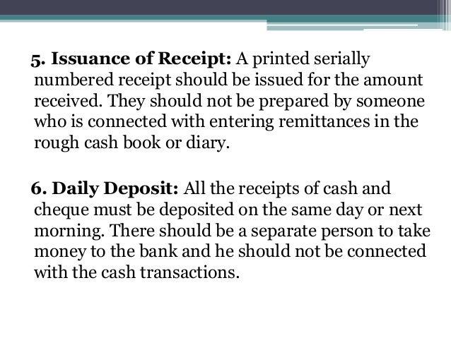 Internal check regarding cash receipts and cash payment – Receipt for Cash Payment
