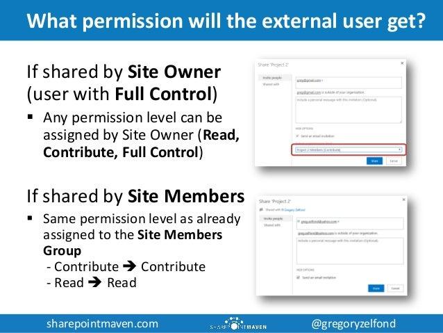 sharepointmaven.com @gregoryzelfondsharepointmaven.com @gregoryzelfond What permission will the external user get? If shar...