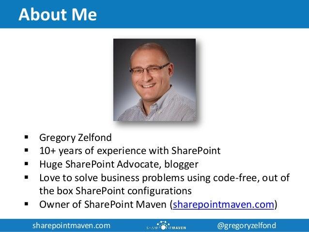sharepointmaven.com @gregoryzelfondsharepointmaven.com @gregoryzelfond About Me  Gregory Zelfond  10+ years of experienc...