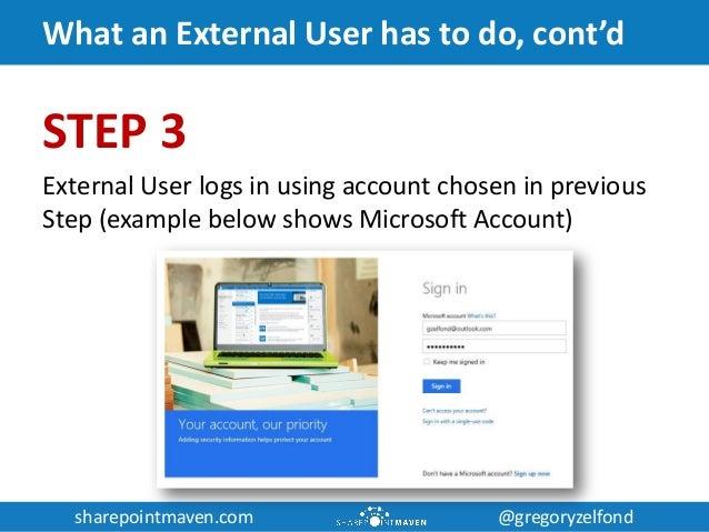 sharepointmaven.com @gregoryzelfondsharepointmaven.com @gregoryzelfond What an External User has to do, cont'd STEP 3 Exte...