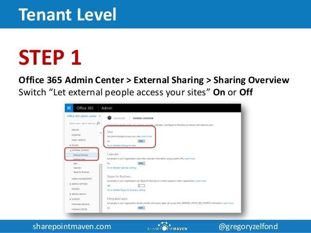 sharepointmaven.com @gregoryzelfondsharepointmaven.com @gregoryzelfond Tenant Level STEP 1 Office 365 Admin Center > Exter...