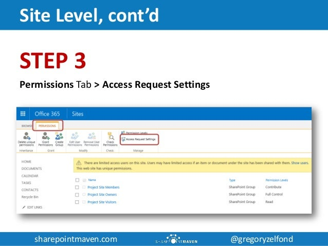 sharepointmaven.com @gregoryzelfondsharepointmaven.com @gregoryzelfond Site Level, cont'd STEP 3 Permissions Tab > Access ...