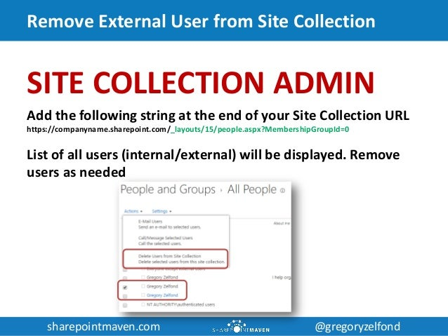 sharepointmaven.com @gregoryzelfondsharepointmaven.com @gregoryzelfond Remove External User from Site Collection SITE COLL...
