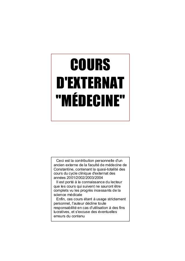 """COURS DEXTERNAT """"MÉDECINE""""  Ceci est la contribution personnelle dunancien externe de la faculté de médecine deConstantine..."""