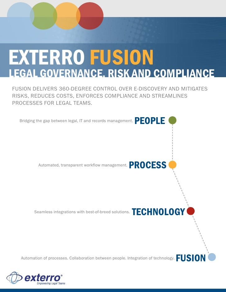 EXTERRO FUSION LEGAL GOVERNANCE, RISK AND COMPLIANCE FUSION DELIVERS 360-DEGREE CONTROL OVER E-DISCOVERY AND MITIGATES RIS...