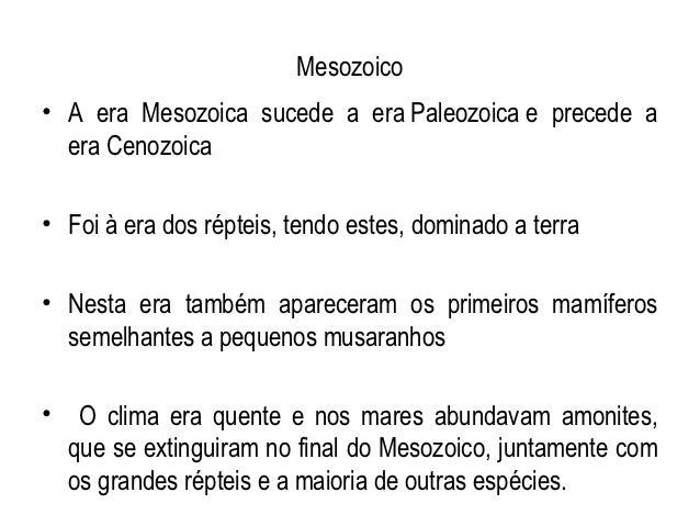 Mesozoico• A era Mesozoica sucede a era Paleozoica e precede a  era Cenozoica• Foi à era dos répteis, tendo estes, dominad...