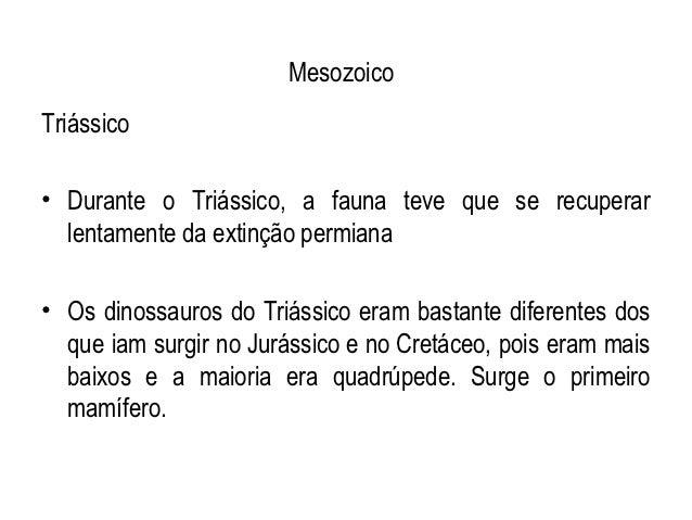 MesozoicoTriássico• Durante o Triássico, a fauna teve que se recuperar  lentamente da extinção permiana• Os dinossauros do...