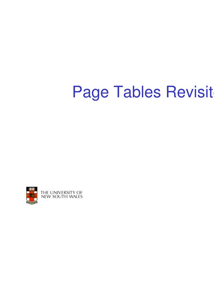 Page Tables Revisited                        1