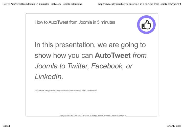 How to AutoTweet from Joomla in 5 minutes - Extly.com - Joomla Extensions                                       http://www...