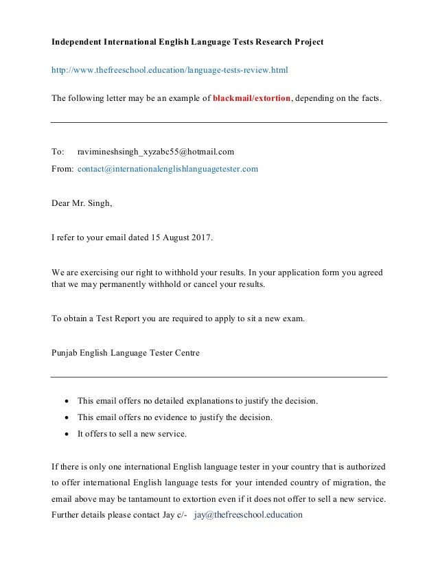Independent International English Language Tests Research Project http://www.thefreeschool.education/language-tests-review...