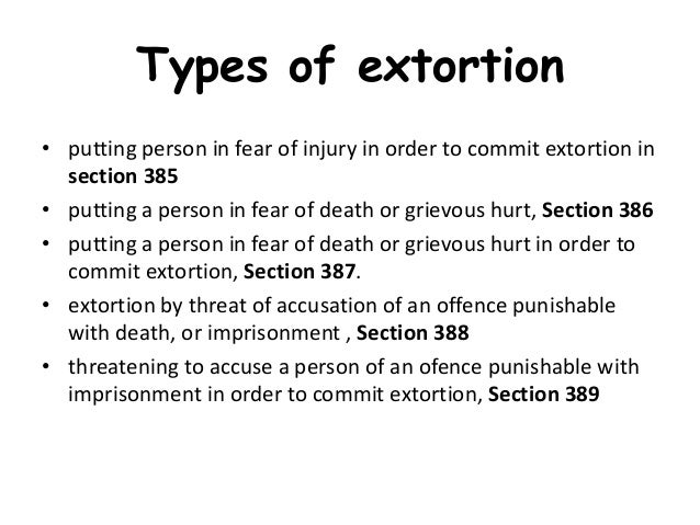Lovely 24. Types Of Extortion ...