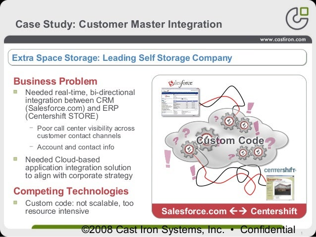1©2008 Cast Iron Systems, Inc. • Confidential Case Study: Customer Master Integration Picture here Extra Space Storage: Le...