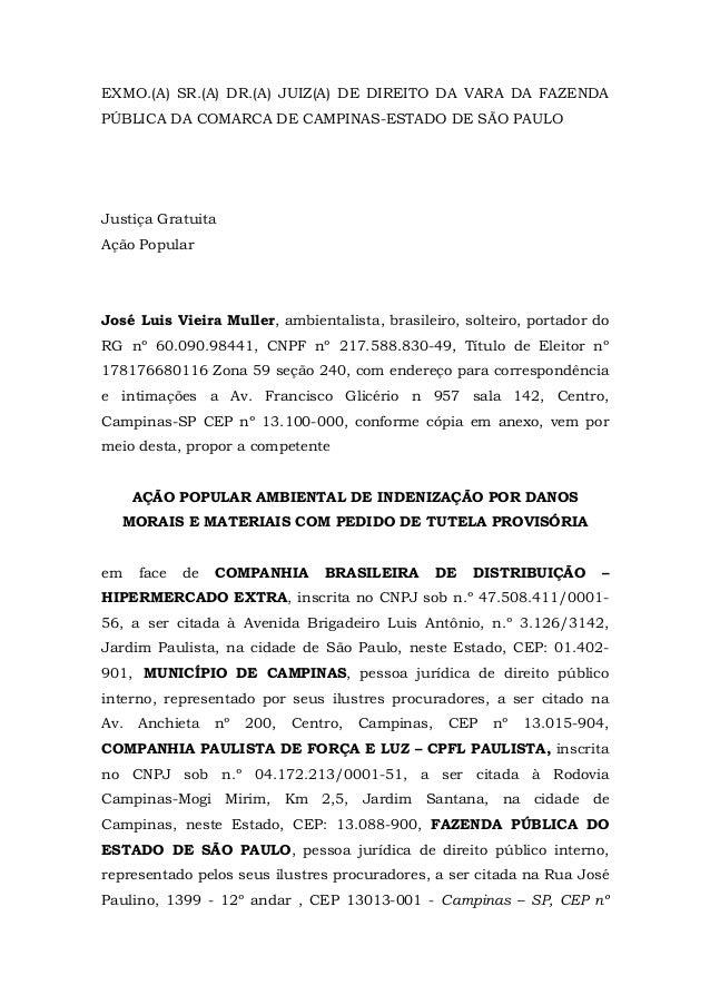 EXMO.(A) SR.(A) DR.(A) JUIZ(A) DE DIREITO DA VARA DA FAZENDA  PÚBLICA DA COMARCA DE CAMPINAS-ESTADO DE SÃO PAULO  Justiça ...