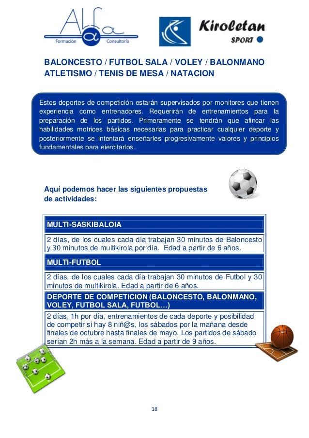 18 BALONCESTO / FUTBOL SALA / VOLEY / BALONMANO ATLETISMO / TENIS DE MESA / NATACION Aquí podemos hacer las siguientes pro...