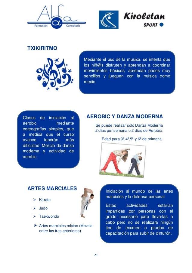 21 TXIKIRITMO AEROBIC Y DANZA MODERNA Se puede realizar solo Danza Moderna 2 días por semana o 2 días de Aerobic. Edad par...