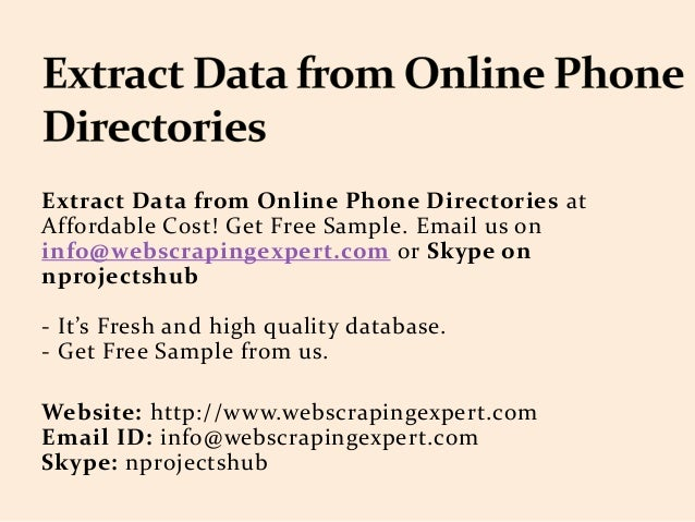 Extract Data from Online Phone Directories
