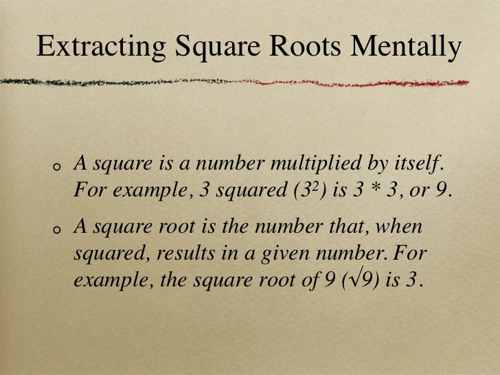 how to find square root mentally