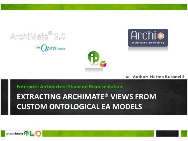    Author: Matteo BusanelliEnterprise Architecture Standard RepresentationEXTRACTING ARCHIMATE® VIEWS FROMCUSTOM ONTOLOGI...