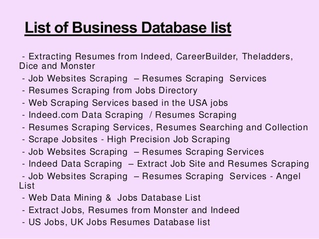 extracting resumes from indeed  careerbuilder  theladders