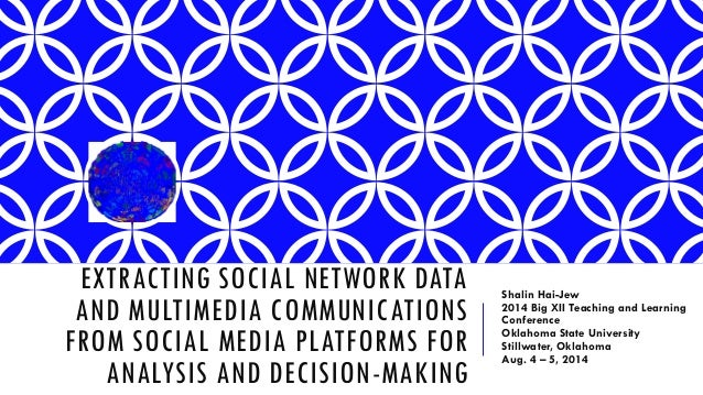 EXTRACTING SOCIAL NETWORK DATA AND MULTIMEDIA COMMUNICATIONS FROM SOCIAL MEDIA PLATFORMS FOR ANALYSIS AND DECISION-MAKING ...