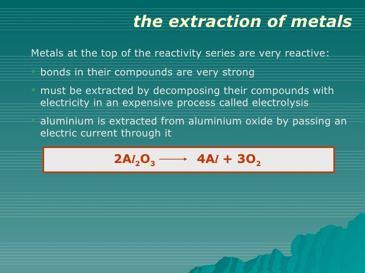 extraction of metals Introduction into extracting metals, covers smelting, reduction with carbon and electrolysis questions are graded some easier than others, most answers are on the papers which i stuck.