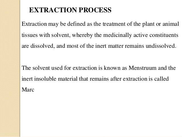 Extraction Of Plant Contituents