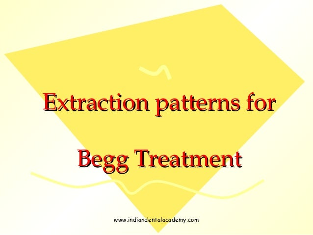 Extraction patterns for Begg Treatment www.indiandentalacademy.com