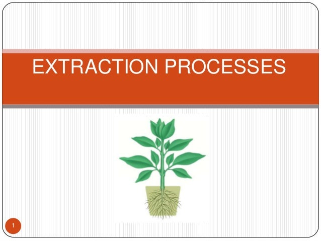1 EXTRACTION PROCESSES