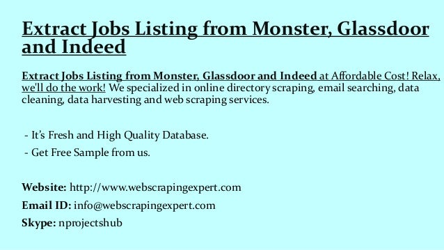 Extract jobs listing from monster, glassdoor and indeed