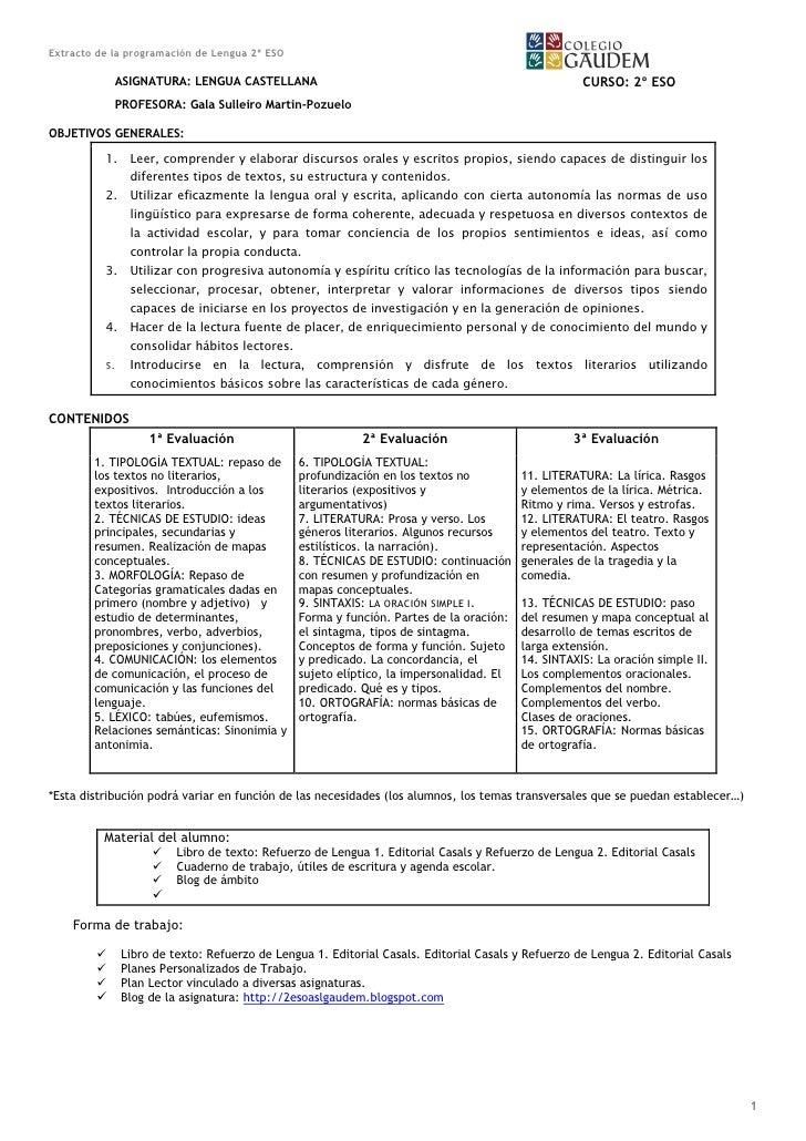 Extracto.programación.anual.lengua 2ºeso