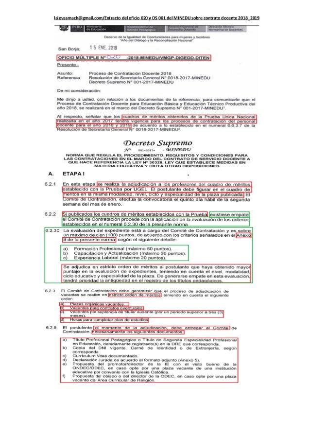Resumen de requisitos y anexos a presentar para el contrato docente M…